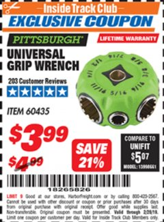 Harbor Freight ITC Coupon UNIVERSAL GRIP WRENCH Lot No. 60435 Expired: 2/28/19 - $3.99