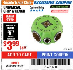 Harbor Freight ITC Coupon UNIVERSAL GRIP WRENCH Lot No. 60435 Expired: 10/1/19 - $3.99
