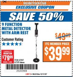 Harbor Freight ITC Coupon 9 FUNCTION METAL DETECTOR WITH ARM REST Lot No. 62307/67378 Expired: 12/11/18 - $39.99