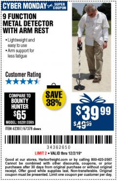 Harbor Freight Coupon 9 FUNCTION METAL DETECTOR WITH ARM REST Lot No. 62307/67378 Expired: 12/2/19 - $39.99