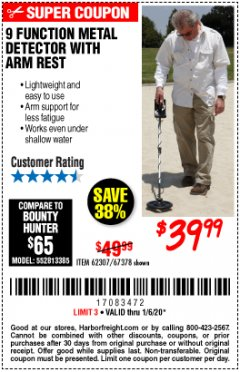 Harbor Freight Coupon 9 FUNCTION METAL DETECTOR WITH ARM REST Lot No. 62307/67378 Expired: 1/6/20 - $39.99