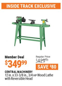 "Harbor Freight ITC Coupon 12"" x 33-3/8"" WOOD LATHE WITH REVERSIBLE HEAD Lot No. 34706 Valid: 3/26/21 - 4/29/21 - $349.99"
