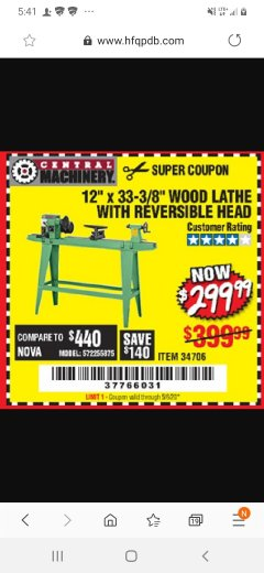 "Harbor Freight Coupon 12"" x 33-3/8"" WOOD LATHE WITH REVERSIBLE HEAD Lot No. 34706 Expired: 6/21/20 - $299.99"