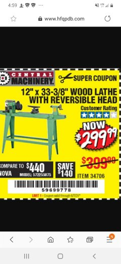 "Harbor Freight Coupon 12"" x 33-3/8"" WOOD LATHE WITH REVERSIBLE HEAD Lot No. 34706 Expired: 6/7/20 - $299.99"