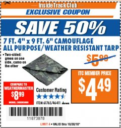 "Harbor Freight ITC Coupon 7 FT. 4"" x 9 FT. 6"" CAMOUFLAGE ALL PURPOSE/WEATHER RESISTANT TARP Lot No. 46411/61765 Expired: 10/30/18 - $4.49"