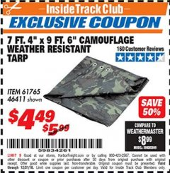 "Harbor Freight ITC Coupon 7 FT. 4"" x 9 FT. 6"" CAMOUFLAGE ALL PURPOSE/WEATHER RESISTANT TARP Lot No. 46411/61765 Expired: 12/31/18 - $4.49"