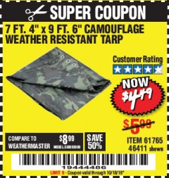 "Harbor Freight Coupon 7 FT. 4"" x 9 FT. 6"" CAMOUFLAGE ALL PURPOSE/WEATHER RESISTANT TARP Lot No. 46411/61765 Expired: 10/18/18 - $0"