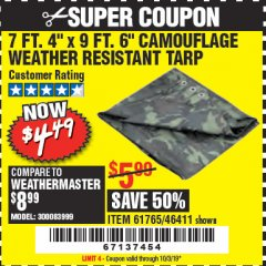 "Harbor Freight Coupon 7 FT. 4"" x 9 FT. 6"" CAMOUFLAGE ALL PURPOSE/WEATHER RESISTANT TARP Lot No. 46411/61765 Expired: 10/3/19 - $4.49"