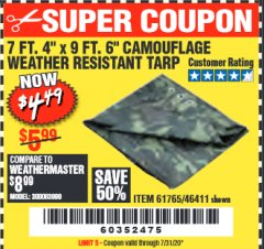 "Harbor Freight Coupon 7 FT. 4"" x 9 FT. 6"" CAMOUFLAGE ALL PURPOSE/WEATHER RESISTANT TARP Lot No. 46411/61765 Valid: 9/11/19 - 12/31/20 - $4.49"
