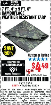 "Harbor Freight Coupon 7 FT. 4"" x 9 FT. 6"" CAMOUFLAGE ALL PURPOSE/WEATHER RESISTANT TARP Lot No. 46411/61765 Expired: 1/26/20 - $4.49"