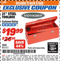 "Harbor Freight ITC Coupon 21"" STEEL TOOLBOX Lot No. 91111 Expired: 9/30/18 - $19.99"