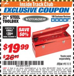 "Harbor Freight ITC Coupon 21"" STEEL TOOLBOX Lot No. 91111 Expired: 5/31/19 - $19.99"