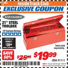 "Harbor Freight ITC Coupon 21"" STEEL TOOLBOX Lot No. 91111 Expired: 11/30/19 - $19.99"