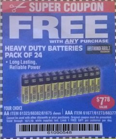Harbor Freight FREE Coupon 24 PACK HEAVY DUTY BATTERIES Lot No. 61675/68382/61323/61677/68377/61273 Expired: 10/1/19 - FWP