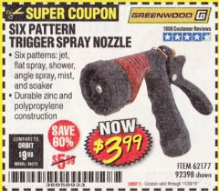 Harbor Freight Coupon TRIGGER SPRAY NOZZLE Lot No. 62177/92398 Expired: 11/30/19 - $3.99