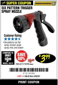 Harbor Freight Coupon TRIGGER SPRAY NOZZLE Lot No. 62177/92398 EXPIRES: 6/30/20 - $3.99