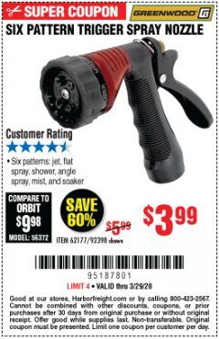 Harbor Freight Coupon TRIGGER SPRAY NOZZLE Lot No. 62177/92398 Expired: 3/29/20 - $3.99