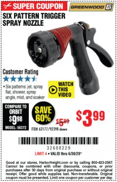 Harbor Freight Coupon TRIGGER SPRAY NOZZLE Lot No. 62177/92398 Expired: 6/30/20 - $3.99