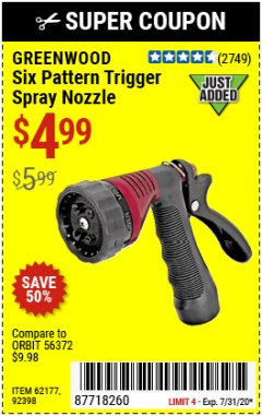 Harbor Freight Coupon TRIGGER SPRAY NOZZLE Lot No. 62177/92398 Expired: 7/31/20 - $4.99