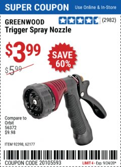 Harbor Freight Coupon TRIGGER SPRAY NOZZLE Lot No. 62177/92398 Expired: 9/24/20 - $3.99