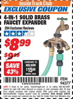 Harbor Freight ITC Coupon 4-IN-1 SOLID BRASS FAUCET EXPANDER Lot No. 94377 Expired: 4/30/19 - $8.99