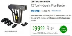 Harbor Freight Coupon 12 TON HYDRAULIC PIPE BENDER Lot No. 32888/62539 Valid Thru: 6/30/20 - $99.99