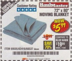 "Harbor Freight Coupon 72"" X 80"" MOVING BLANKET Lot No. 66537/69505/62418 Expired: 11/28/19 - $5.99"