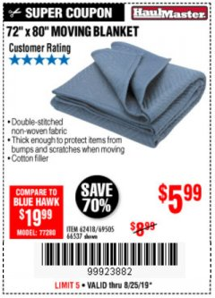 "Harbor Freight Coupon 72"" X 80"" MOVING BLANKET Lot No. 66537/69505/62418 Expired: 8/25/19 - $5.99"