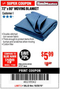 "Harbor Freight Coupon 72"" X 80"" MOVING BLANKET Lot No. 66537/69505/62418 Expired: 10/20/19 - $5.99"