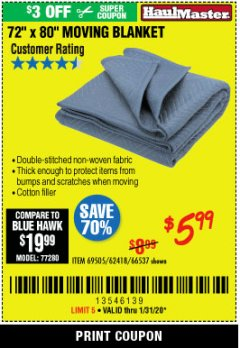 "Harbor Freight Coupon 72"" X 80"" MOVING BLANKET Lot No. 66537/69505/62418 Expired: 1/31/20 - $5.99"