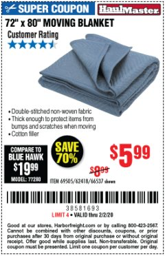 "Harbor Freight Coupon 72"" X 80"" MOVING BLANKET Lot No. 66537/69505/62418 Expired: 2/2/20 - $5.99"
