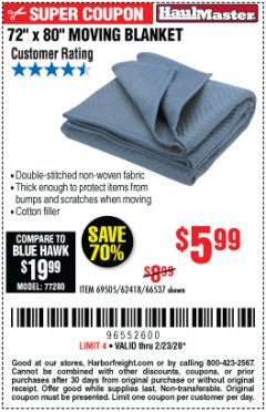 "Harbor Freight Coupon 72"" X 80"" MOVING BLANKET Lot No. 66537/69505/62418 Expired: 2/23/20 - $5.99"