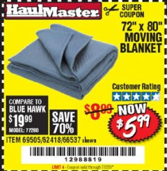 "Harbor Freight Coupon 72"" X 80"" MOVING BLANKET Lot No. 66537/69505/62418 Expired: 7/2/20 - $5.99"
