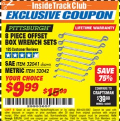 Harbor Freight ITC Coupon 8 PIECE OFFSET BOX WRENCH SETS Lot No. 32041/32042 Expired: 3/31/19 - $9.99