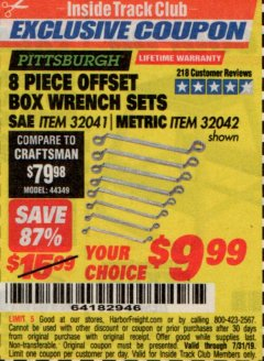 Harbor Freight ITC Coupon 8 PIECE OFFSET BOX WRENCH SETS Lot No. 32041/32042 Expired: 7/31/19 - $9.99