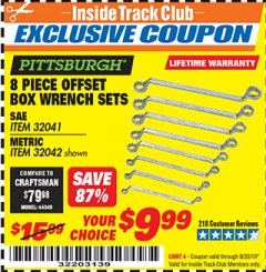 Harbor Freight ITC Coupon 8 PIECE OFFSET BOX WRENCH SETS Lot No. 32041/32042 Expired: 9/30/19 - $9.99