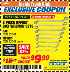 Harbor Freight ITC Coupon 8 PIECE OFFSET BOX WRENCH SETS Lot No. 32041/32042 Expired: 11/30/19 - $9.99