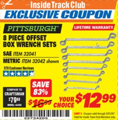 Harbor Freight ITC Coupon 8 PIECE OFFSET BOX WRENCH SETS Lot No. 32041/32042 Expired: 3/31/20 - $12.99