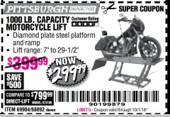 Harbor Freight Coupon 1000 LB. CAPACITY MOTORCYCLE LIFT Lot No. 69904/68892 Expired: 10/1/18 - $299.99