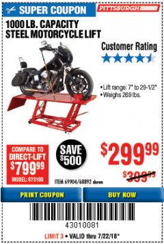 Harbor Freight Coupon 1000 LB. CAPACITY MOTORCYCLE LIFT Lot No. 69904/68892 Expired: 7/22/18 - $299.99