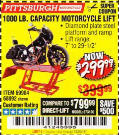 Harbor Freight Coupon 1000 LB. CAPACITY MOTORCYCLE LIFT Lot No. 69904/68892 Expired: 12/20/18 - $299.99
