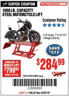 Harbor Freight Coupon 1000 LB. CAPACITY MOTORCYCLE LIFT Lot No. 69904/68892 Expired: 8/26/18 - $284.99