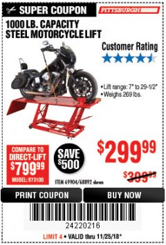 Harbor Freight Coupon 1000 LB. CAPACITY MOTORCYCLE LIFT Lot No. 69904/68892 Expired: 11/25/18 - $299.99