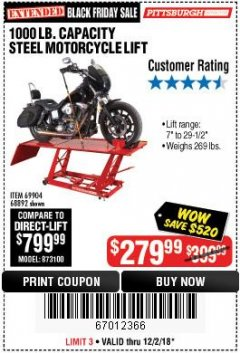Harbor Freight Coupon 1000 LB. CAPACITY MOTORCYCLE LIFT Lot No. 69904/68892 Expired: 12/2/18 - $279.99
