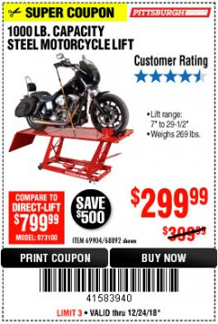 Harbor Freight Coupon 1000 LB. CAPACITY MOTORCYCLE LIFT Lot No. 69904/68892 Expired: 12/24/18 - $299.99
