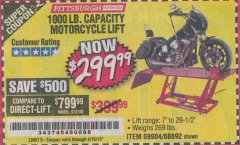 Harbor Freight Coupon 1000 LB. CAPACITY MOTORCYCLE LIFT Lot No. 69904/68892 Expired: 4/13/19 - $299.99