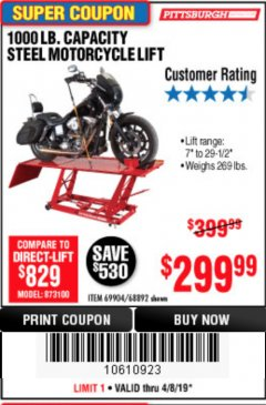 Harbor Freight Coupon 1000 LB. CAPACITY MOTORCYCLE LIFT Lot No. 69904/68892 Expired: 4/30/19 - $299.99