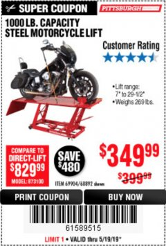 Harbor Freight Coupon 1000 LB. CAPACITY MOTORCYCLE LIFT Lot No. 69904/68892 Expired: 5/19/19 - $349.99