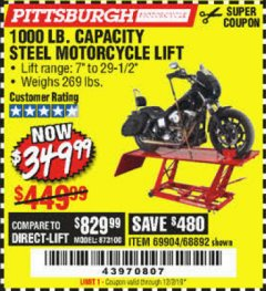 Harbor Freight Coupon 1000 LB. CAPACITY MOTORCYCLE LIFT Lot No. 69904/68892 Expired: 12/2/19 - $349.99