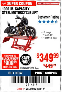 Harbor Freight Coupon 1000 LB. CAPACITY MOTORCYCLE LIFT Lot No. 69904/68892 Expired: 9/22/19 - $3.5